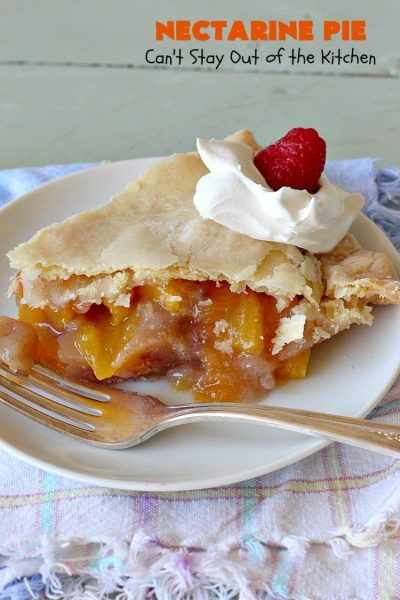 Nectarine Pie | Can't Stay Out of the Kitchen | this is absolutely the best #FruitPie ever! I never realized #nectarines tasted so great in #dessert. Better than #PeachPie! Love this #recipe. #southern #NectarinePie #cinnamon #NectarineDessert #Canbassador #WashingtonStateFruitCommission #WashingtonStoneFruitGrowers