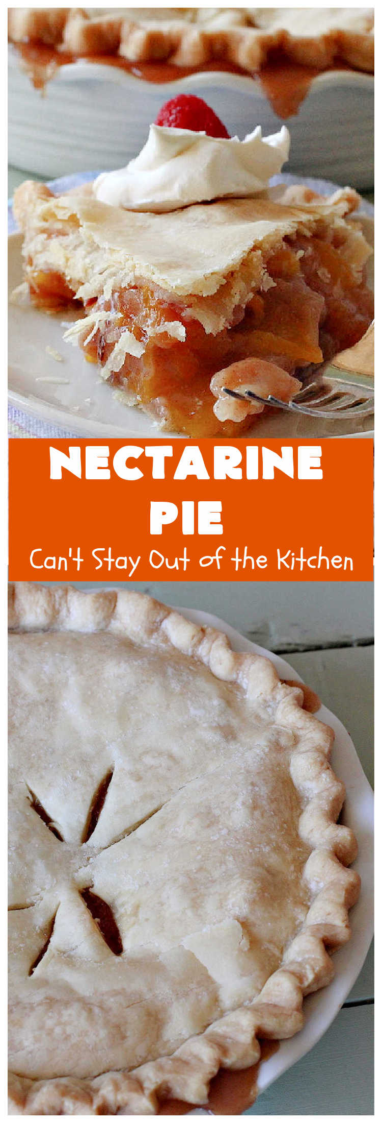 Nectarine Pie   Can't Stay Out of the Kitchen   this is absolutely the best #FruitPie ever! I never realized #nectarines tasted so great in #dessert. Better than #PeachPie! Love this #recipe. #southern #NectarinePie #cinnamon #NectarineDessert #Canbassador #WashingtonStateFruitCommission #WashingtonStoneFruitGrowers