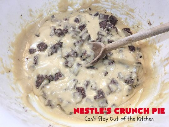 Nestle's Crunch Pie | Can't Stay Out of the Kitchen | this spectacular #pie is filled with #NestlesCrunchBars! It has that smooth milk #chocolate taste with a little crunch added to make it special. Every bite is a chocolaty delight. Terrific for company, #holidays like #ValentinesDay or special occasions. #Nestles #dessert #HolidayDessert #ChocolateDessert #NestlesCrunchPie