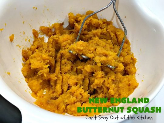 New England Butternut Squash | Can't Stay Out of the Kitchen | this delightful 5-ingredient #recipe is perfect for company, #holiday or family dinners. It's seasoned with #cinnamon & #MapleSyrup & so delicious. #veggie #GlutenFree #NewEngland #NewEnglandButternutSquash #squash #ButternutSquash