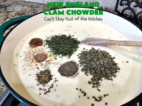 New England Clam Chowder | Can't Stay Out of the Kitchen | this is the BEST #clamchowder #recipe ever! It's filled with minced #clams, leeks, #redpotatoes & seasoned wonderfully with chives, parsley & #OldBaySeasoning. It's marvelous comfort food for #fall. We always serve it with #OysterCrackers. #glutenfree #soup #NewEnglandClamChowder #glutenfreesoup
