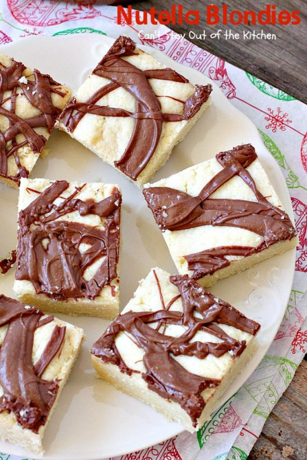 Nutella Blondies   Can't Stay Out of the Kitchen   These lovely shortbread #cookies have #Nutella swirled on top for a delicious #chocolate & #hazelnut flavor. #dessert