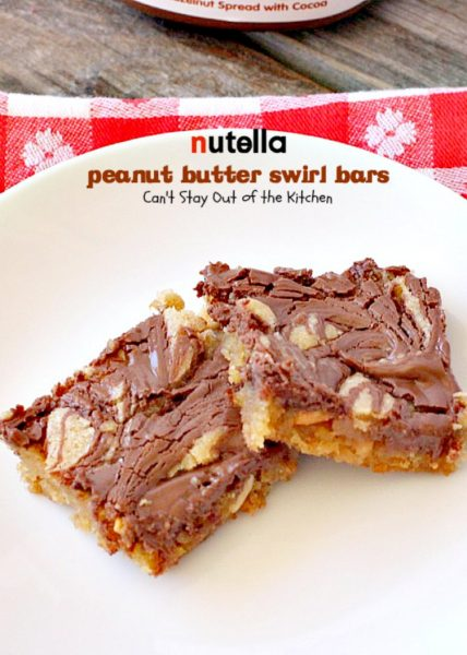 Nutella Peanut Butter Swirl Bars | Can't Stay Out of the Kitchen | these fantastic #brownies use a #peanutbutter #cookie dough with #Nutella swirled into the batter. This #dessert is heavenly! #tailgating