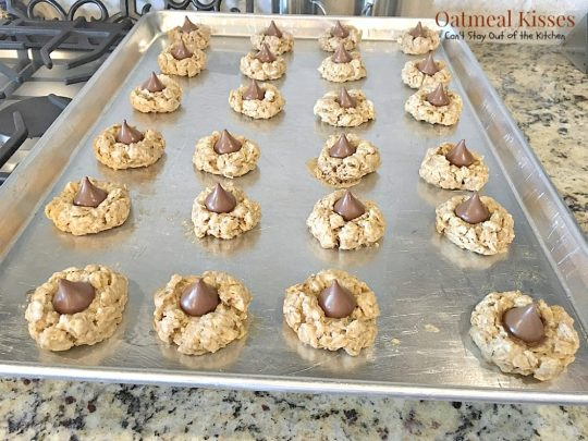 Oatmeal Kisses | Can't Stay Out of the Kitchen | These delightful #oatmeal #cookies have a hint of #cinnamon and a #Hershey'skiss pressed in the center of each one. #dessert #chocolate