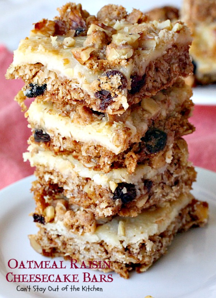 Oatmeal Raisin Cheesecake Bars Can T Stay Out Of The Kitchen