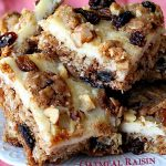 Oatmeal Raisin Cheesecake Bars   Can't Stay Out of the Kitchen   traditional #oatmealraisin #cookies with a luscious #cheesecake layer make for a #brownie to die for! #dessert
