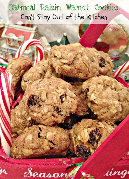 Oatmeal Raisin Walnut Cookies are flavored with cinnamon and nutmeg ...