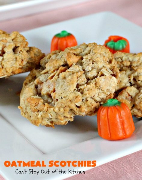 Oatmeal Scotchies | Can't Stay Out of the Kitchen | This vintage #recipe is still a family favorite. #Oatmeal & #ButterscotchChips make these #cookies rich & heavenly. Every bite will have you salivating. Terrific for #Tailgating parties, potlucks, backyard barbecues or family get-togethers. #dessert #OatmealCookies #OatmealScotchies