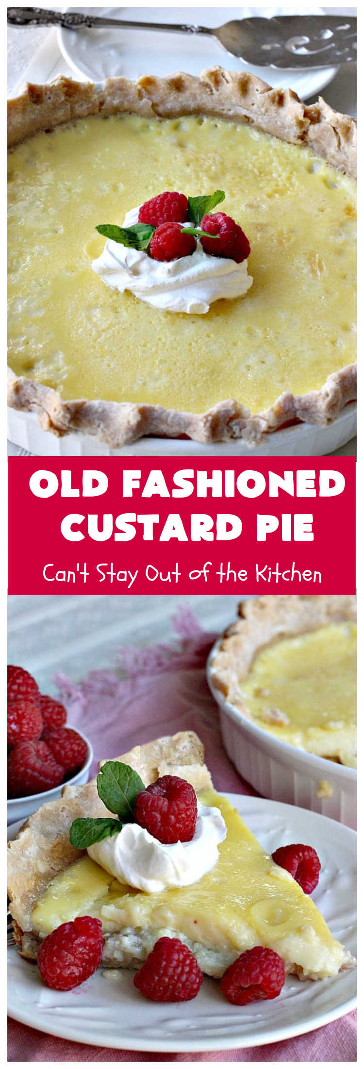 Old Fashioned Custard Pie | Can't Stay Out of the Kitchen | this delicious #pie is so mouthwatering yet easy to make. It makes a great #dessert especially when you need one whipped up in a jiffy. It's always been one of my kid's favorite pie recipes because it's not overly sweet. #CustardPie #MomsCustardPie #OldFashionedCustardPie #EasyCustardPie