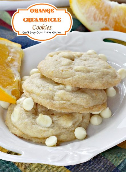 Orange Creamsicle Cookies | Can't Stay Out of the Kitchen | these lovely #cookies are filled with #orange zest and #whitechocolatechips. #dessert #chocolate