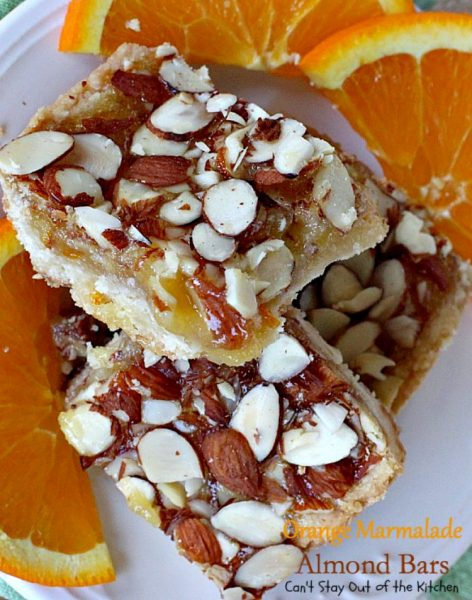 Orange Marmalade Almond Bars | Can't Stay Out of the Kitchen | these amazing bars have a shortbread crust, #orangemarmalade filling & #almonds on top. Great #dessert for #holiday baking. #cookie