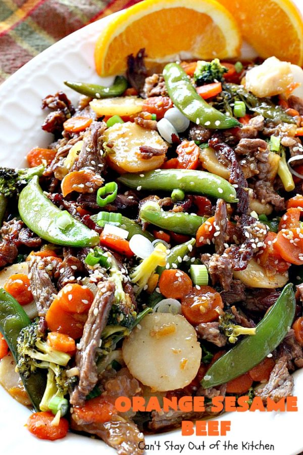 Orange Sesame Beef   Can't Stay Out of the Kitchen   this mouthwatering #Asian #beef entree is made with an amazing #orangemarmalade sauce that's wonderful. It's a quick & easy 30-minute meal making it perfect for weeknights or #holiday or company dinners like #Easter, #MothersDay or #FathersDay. #rice #glutenfree #broccoli