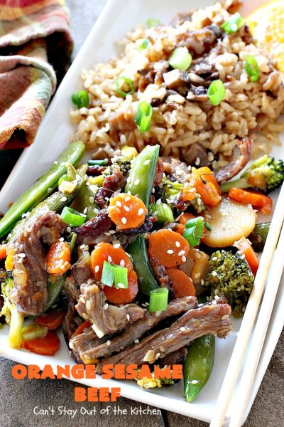Orange Sesame Beef | Can't Stay Out of the Kitchen | this mouthwatering #Asian #beef entree is made with an amazing #orangemarmalade sauce that's wonderful. It's a quick & easy 30-minute meal making it perfect for weeknights or #holiday or company dinners like #Easter, #MothersDay or #FathersDay. #rice #glutenfree #broccoli
