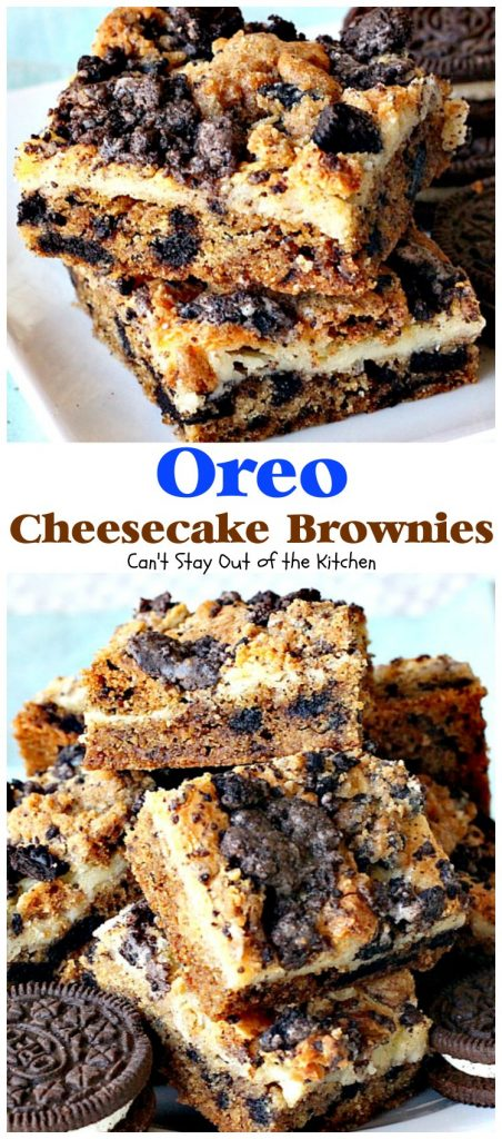 Oreo Cheesecake Brownies | Can't Stay Out of the Kitchen