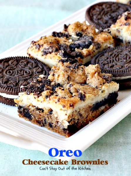 Oreo Cheesecake Brownies | Can't Stay Out of the Kitchen | these #brownies are divine! They have a scrumptious #cheesecake layer along with #Oreo #cookie dough. Amazing. #chocolate #dessert