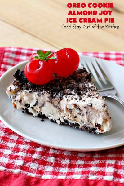 Oreo Cookie Almond Joy Ice Cream Pie | Can't Stay Out of the Kitchen | Wow your family and friends with this spectacular #IceCreamPie for #MothersDay! It combines the best of #Oreos with #AlmondJoyBars! Plus, it's a super easy 5-ingredient #dessert to die for! #Holiday #Pie #HolidayDessert #ChocolateDessert #OreoDessert #AlmondJoyDessert #ChocolatePie #OreoPie #IceCream #AlmondJoyPie #OreoCookieAlmondJoyIceCreamPie