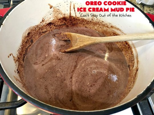 Oreo Cookie Ice Cream Mud Pie | Can't Stay Out of the Kitchen | this amazing #dessert is made with #OreoCookies, vanilla #IceCream & has a #ChocolateSauce over top. It's sensational for any special occasion or company dessert. #OreoDessert #ChocolateDessert #IceCreamDessert #OreoCookieIceCreamMudPie
