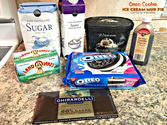 Oreo Cookie Ice Cream Mud Pie | Can't Stay Out of the Kitchen | spectacular #dessert with an #Oreo crust, an Oreo #icecream layer, and a #chocolate sauce using #Ghirardelli chocolate. Amazing!