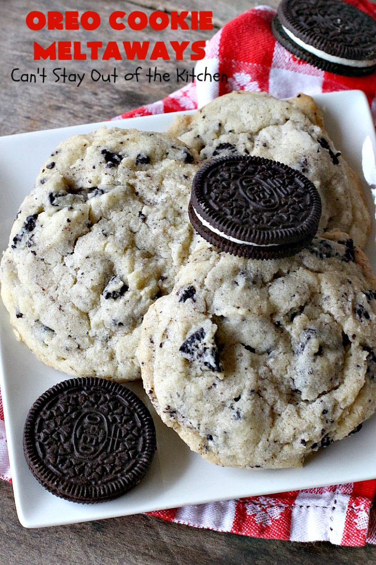 Oreo Cookie Meltaways | Can't Stay Out of the Kitchen | these over-the-top #cookies simply dissolve in your mouth! They're rich, decadent, chocolaty and so enjoyable! If you like #Oreos, you'll love them in this #dessert. #chocolate #OreoDessert #ChocolateDessert #ChristmasCookieExchange #tailgating