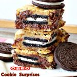 Oreo Cookie Surprises | Can't Stay Out of the Kitchen | these #brownies are divine! #Oreo #cookies are sandwiched between #Mrs.Fields #chocolate chip cookie dough! Best #dessert ever! Great for #MothersDay & other #holidays.