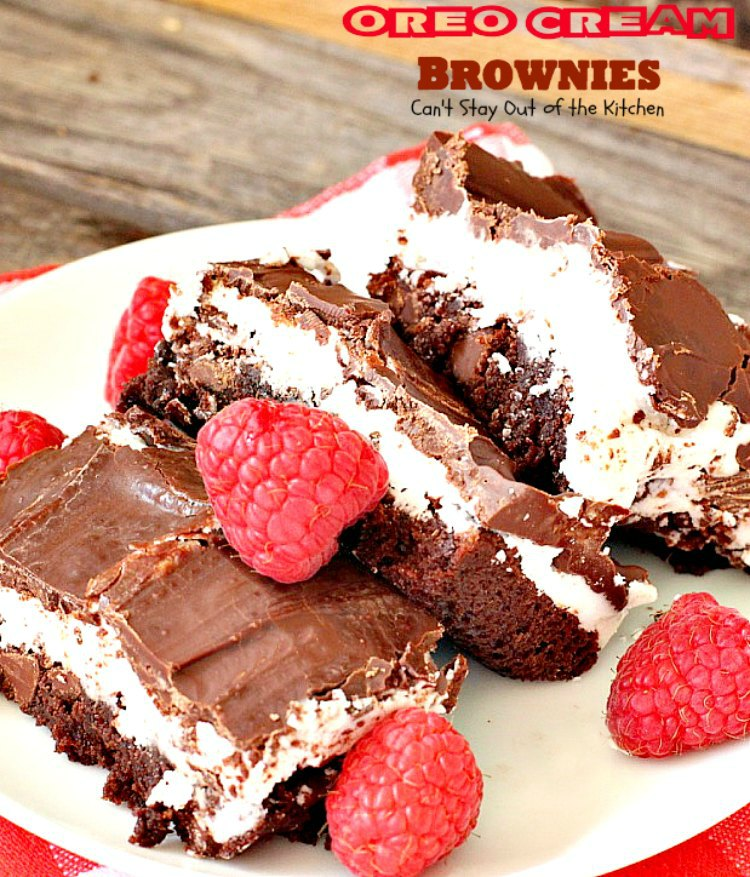 Oreo Cream Brownies | Can't Stay Out of the Kitchen | these decadent #brownies start with a #glutenfree brownie mix. Then they're iced with an #Oreo cream type mixture and glazed with melted #chocolate chips. Amazing #dessert.