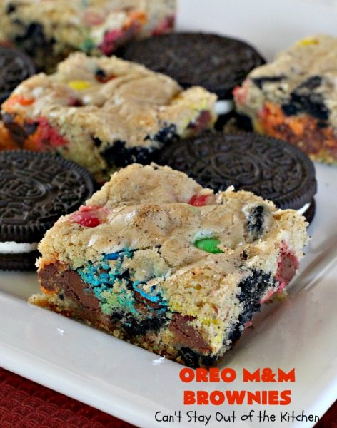 Oreo M&M Brownies | Can't Stay Out of the Kitchen | these over-the-top #brownies are filled with #Oreos & #MMs. They are rich, decadent & divine! If you love M&Ms and Oreos, you'll love the combination in this fantastic #dessert. #Chocolate #tailgating #ChocolateDessert #MMDessert #cookie #OreoDessert #FourthOfJulyDessert #LaborDayDessert