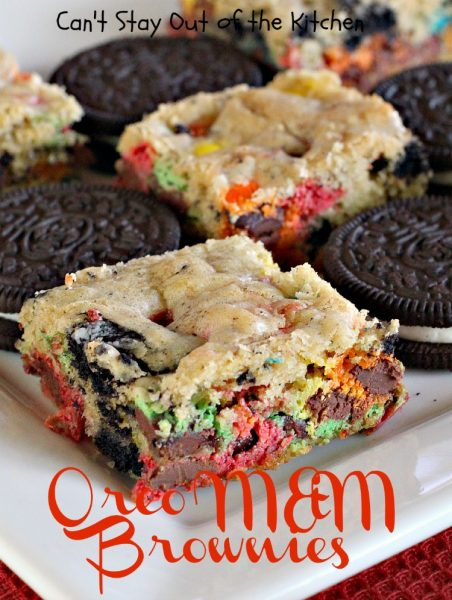 Oreo M&M Brownies | Can't Stay Out of the Kitchen