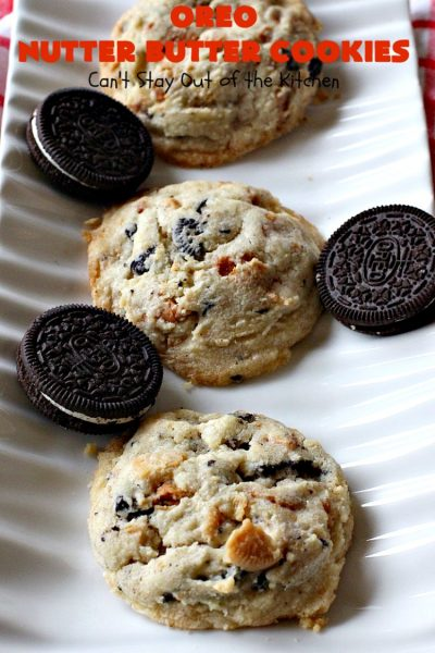 Oreo Nutter Butter Cookies | Can't Stay Out of the Kitchen | these outrageous #cookies have #Oreos & #NutterButterBites. They're perfect for any kid's party, potluck or #tailgating party. #chocolate #dessert #peanutbutter #ChocolateDessert #OreoDessert #PeanutButterDessert #NutterButterBitesDessert #Holiday #HolidayDessert