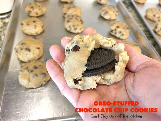 Oreo-Stuffed Chocolate Chip Cookies | Can't Stay Out of the Kitchen | these sensational #chocolate chip #cookies have an #Oreo buried in each cookie! They're so rich & decadent you'll be drooling after the first bite! Perfect for #Christmas cookie exchanges & #holiday parties. #dessert