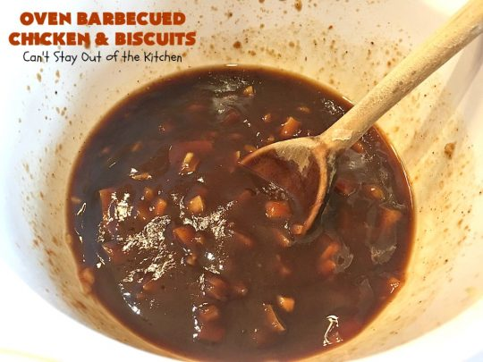 Oven Barbecued Chicken and Biscuits | Can't Stay Out of the Kitchen | this quick & easy 7-ingredient #chicken entree is perfect for weeknights when you're short on time. It only takes 5 minutes to prepare. This kid-friendly #casserole is absolutely mouthwatering. Our company loved it. #biscuits #BBQ #parmesancheese #BBQChicken