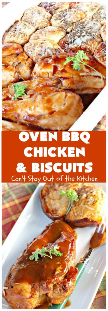 Oven Barbecued Chicken and Biscuits | Can't Stay Out of the Kitchen | this easy 7-ingredient #chicken entree takes about 5 minutes to prepare. It's perfect for weeknight dinners or company, but nice enough for #holiday dinners like #MothersDay or #FathersDay too. #biscuits #BBQ