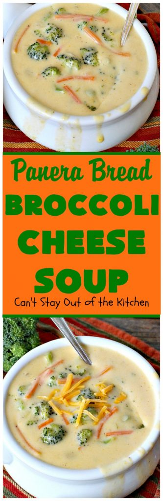 Panera Bread Broccoli Cheese Soup | Can't Stay Out of the Kitchen | this #copycat recipe is spectacular. This is the best #broccoli #cheese #soup I've ever tasted. So easy, too--only takes about 30 minutes! #panerabread #glutenfree