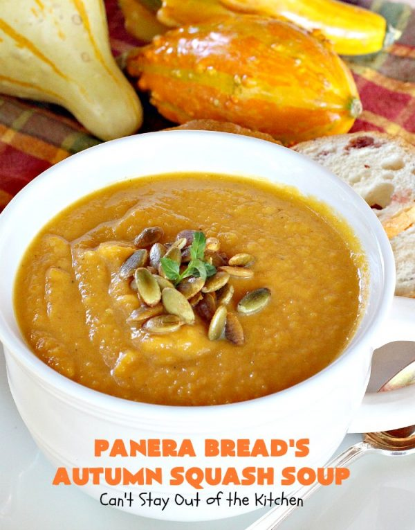 Panera Bread's Autumn Squash Soup | Can't Stay Out of the Kitchen | This awesome #soup is a terrific #copycat #recipe of #PaneraBread's version. This #glutenfree version can easily be made #vegan. #pumpkin #butternutsquash