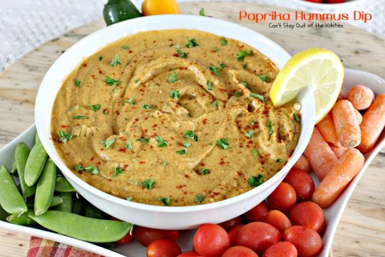 Paprika Hummus Dip | Can't Stay Out of the Kitchen | this healthy, low-calorie #appetizer is a great #tailgating snack. #glutenfree #vegan