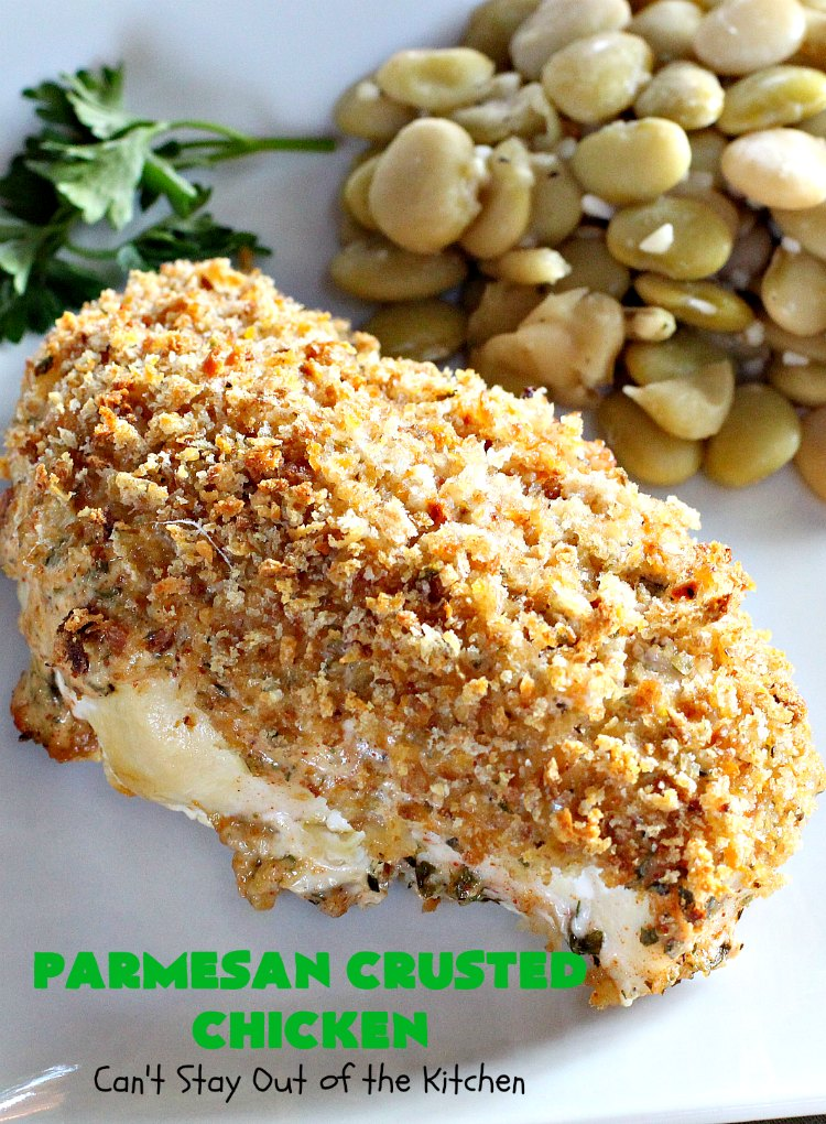Parmesan Crusted Chicken | Can't Stay Out of the Kitchen | this amazing #chicken entree is flavored with a #parmesancheese & #GreekYogurt coating & seasoned to perfection. The chicken is then dredged in #breadcrumbs or #panko crumbs.