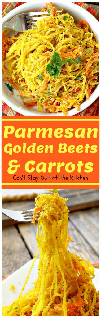 Parmesan Golden Beets and Carrots | Can't Stay Out of the Kitchen | this is a delightful way to serve #beets. Spiralizing the #veggies is a terrific way to get your kids to eat this healthy veggie. Great #holiday side dish, too. #glutenfree #parmesancheese