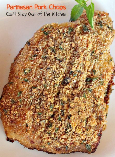 Parmesan Pork Chops | Can't Stay Out of the Kitchen | these tasty #porkchops are coated with seasonings, #parmesancheese, #breadcrumbs and drizzled with olive oil before #baking. Great for company. #pork