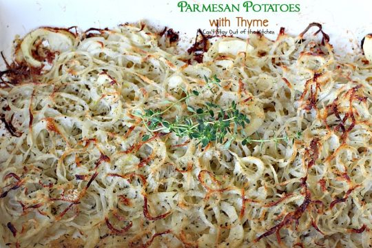 Parmesan Potatoes with Thyme | Can't Stay Out of the Kitchen | These adorable #potatoes are a fantastic side dish for any occasion. Quick & easy, too. #parmesancheese #glutenfree