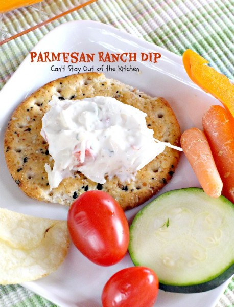Parmesan Ranch Dip | Can't Stay Out of the Kitchen | this tasty #appetizer is made with #ranchdressingmix and #parmesancheese and it's great for #tailgating.