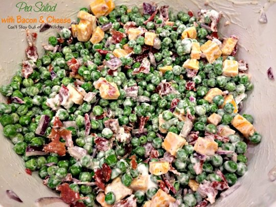 Pea Salad with Bacon and Cheese | Can't Stay Out of the Kitchen | great potluck #salad with #peas #bacon #cheese and #hard-boiledeggs. #glutenfree