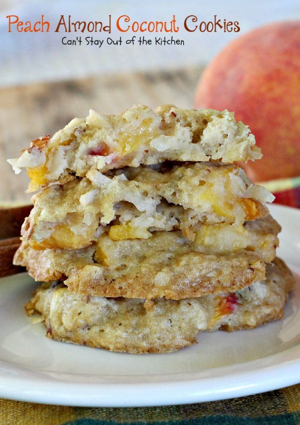 Peach Almond Coconut Cookies | Can't Stay Out of the Kitchen