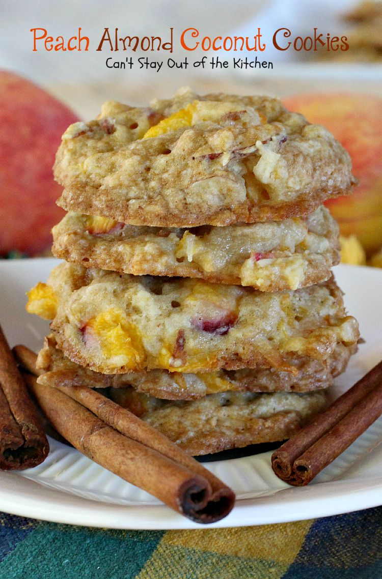 Peach Kitchen Peach Almond Coconut Cookies Cant Stay Out Of The Kitchen