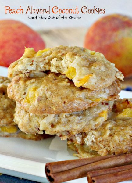 Peach Almond Coconut Cookies | Can't Stay Out of the Kitchen | these crunchy #cookies are filled with #peaches #almonds and #coconut and taste amazing. #dessert