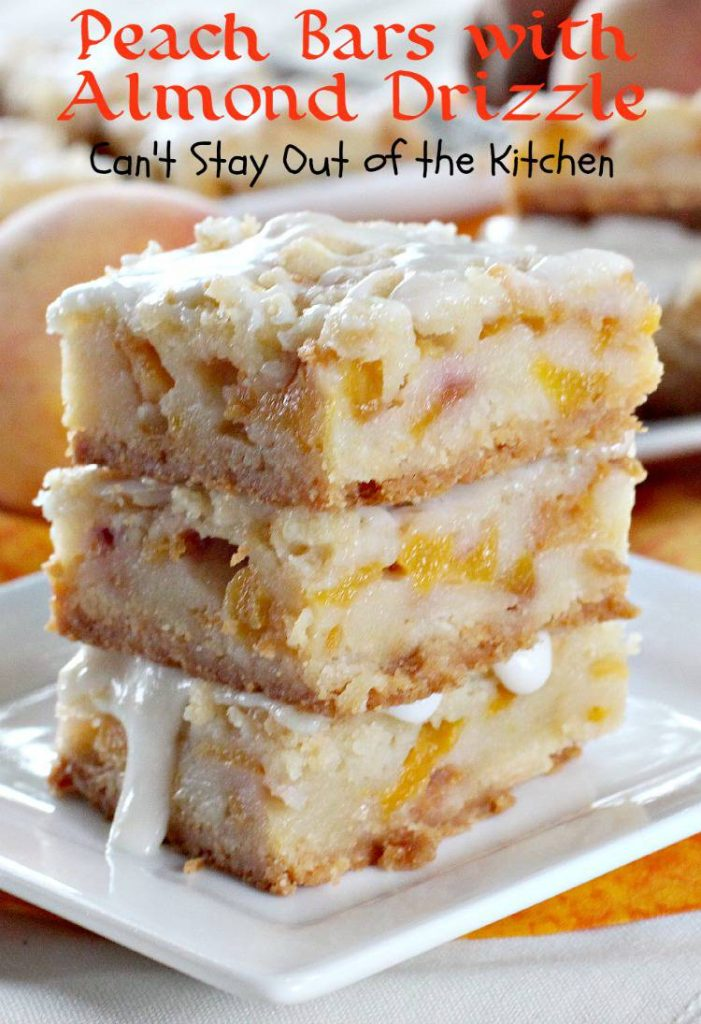 Peach Bars with Almond Drizzle | Can't Stay Out of the Kitchen | spectacular bar-type #cookie with a #shortbread crust, a #peach and sourcream filling, a #streusel topping, and an #almond powdered sugar icing. #dessert
