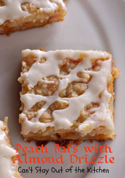 Peach Bars with Almond Drizzle   Can't Stay Out of the Kitchen   spectacular bar-type #cookie with a #shortbread crust, a #peach and sourcream filling, a #streusel topping, and an #almond powdered sugar icing. #dessert