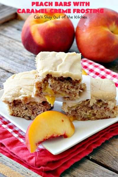 Peach Bars with Caramel Creme Frosting | Can't Stay Out of the Kitchen | this amazing #dessert has a luscious #caramel #marshmallow frosting to die for! It's the perfect #peach dessert for summer.