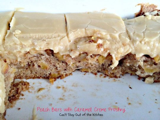 Peach Bars with Caramel Creme Frosting | Can't Stay Out of the Kitchen | rich and decadent cake-type bar #cookie with #peaches and #walnuts. This one has a #caramel #marshmallow #frosting. #dessert