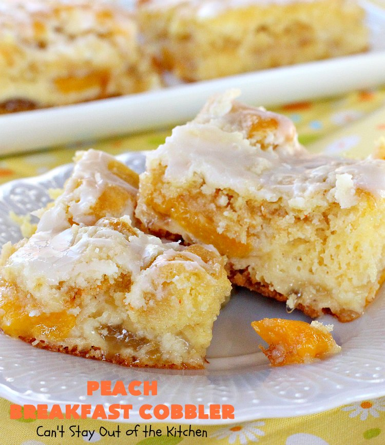 Peach Breakfast Cobbler | Can't Stay Out of the Kitchen | this quick & easy 6-ingredient #recipe is terrific for a company or #holiday #breakfast. It uses a boxed cake mix and #peach pie filling. Love this breakfast #coffeecake.