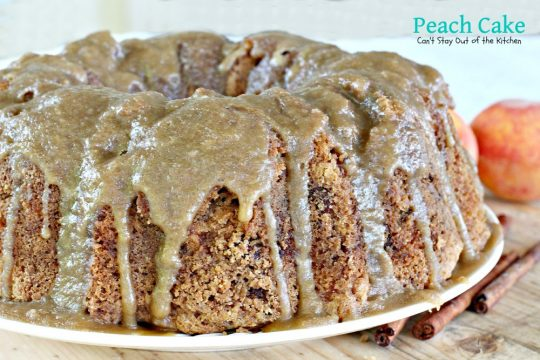 Peach Cake | Can't Stay Out of the Kitchen | spectacular #cake made with #peaches and #pecans. This one has a scrumptious brown sugar glaze. #dessert