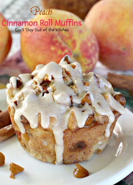 Peach Cinnamon Roll Muffins | Can't Stay Out of the Kitchen | these decadent #muffins taste like #cinnamonrolls with #peaches added. The #cinnamon glaze makes these muffins amazing. #breakfast